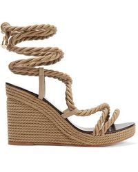 Jimmy Choo Allis 95 Leather-trimmed Rope Wedge Sandals - Natural