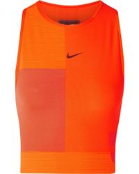 Nike Tech Pack Cropped Cutout Pro Hypercool Top - Orange