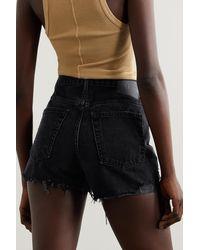 GRLFRND Helena Distressed Denim Shorts - Black