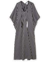 Marie France Van Damme - Boubou Tasselled Striped Cotton And Silk-blend Kaftan - Lyst