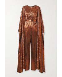 SemSem Belted Draped Plissé-lamé Jumpsuit - Brown