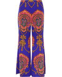 Gucci - Printed Silk Crepe De Chine Wide-leg Pants - Lyst