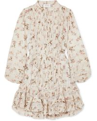 Zimmermann | Whitewave Pintucked Lace-paneled Printed Crinkled-georgette Mini Dress | Lyst