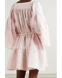 Lisa Marie Fernandez + Net Sustain Minikleid Aus Kariertem Voile Aus Einer Baumwoll-leinenmischung Mit Bindegürtel - Pink