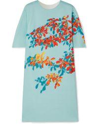 Dries Van Noten Dan Kleid Aus Stretch-scuba Mit Blumenprint - Blau