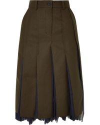 Sacai - Pleated Wool-blend And Chiffon Midi Skirt - Lyst
