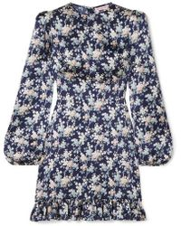 The Vampire's Wife Belle Belted Ruffled Floral-print Silk-satin Dress - Blue