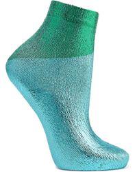 Maria La Rosa - Two-tone Metallic Silk-blend Socks - Lyst