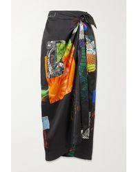 Dries Van Noten Sand Printed Satin-twill Wrap Midi Skirt - Black