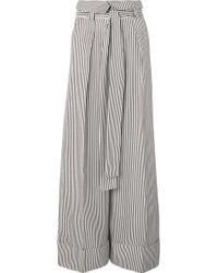 Petar Petrov - Haven Striped Silk-satin Wide-leg Pants - Lyst