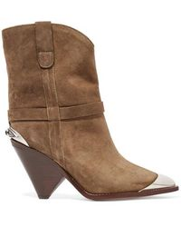 Isabel Marant Lamsy Embellished Suede Ankle Boots - Brown