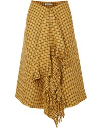 Balenciaga - Fringed Checked Tweed Midi Skirt - Lyst