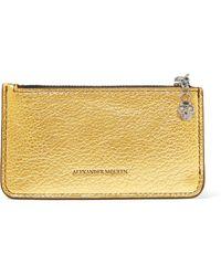Alexander McQueen - Metallic Textured-leather Cardholder - Lyst
