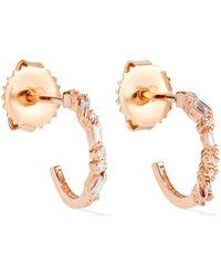 Suzanne Kalan - 18-karat Rose Gold Diamond Hoop Earrings - Lyst