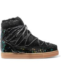 Sophia Webster - Quentin Glittered Leather, Shearling And Mesh Snow Boots - Lyst