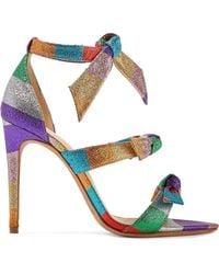 Alexandre Birman - Lolita Bow-embellished Striped Lamé Sandals - Lyst