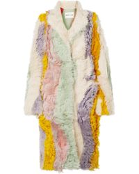 Sandy Liang - Patch Oversized Striped Shearling Coat - Lyst