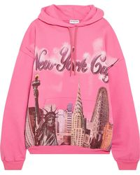 Balenciaga | Pink Oversized New York Hoodie | Lyst