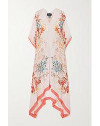 Meng Floral-print Silk-georgette Kaftan - Pink