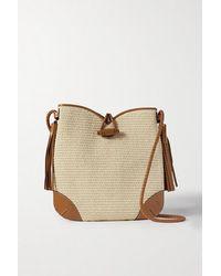 Isabel Marant Tyag Leather-trimmed Raffia Shoulder Bag - Natural