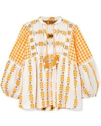 Dodo Bar Or - Embroidered Tasseled Cotton-gauze Blouse - Lyst