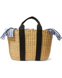 Muuñ - Caba Straw And Striped Cotton-canvas Tote - Lyst