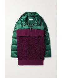 Stella McCartney Panelled Padded Quilted Shell, Ribbed Wool And Wool-blend Bouclé Hoodie - Purple