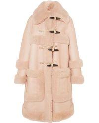 Bottega Veneta - Duffle-coat En Cuir Et En Peau Lainée - Lyst