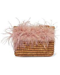 Loeffler Randall Skylar Feather-trimmed Raffia Clutch - Natural