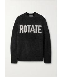 ROTATE BIRGER CHRISTENSEN Brandy Oversized Jacquard-knit Jumper - Black