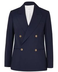 CASASOLA Double-breasted Wool Blazer - Blue