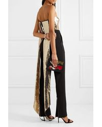 Alex Perry Bennet Cropped Draped Sequinned Crepe Top - Metallic