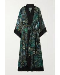 Carine Gilson Kimono En Crêpe De Chine De Soie Imprimé À Ceinture - Noir