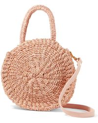 Clare V. - Alice Petit Leather-trimmed Woven Abaca Straw Shoulder Bag - Lyst