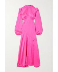 De La Vali Clara Panelled Satin Dress - Pink