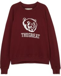 The Great - The College Printed Cotton Sweatshirt - Lyst