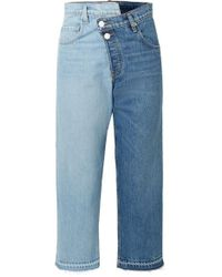 Monse Two-tone Distressed Mid-rise Straight-leg Jeans - Blue