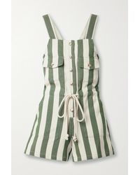Miguelina Franca Button-embellished Striped Cotton-twill Playsuit - Green