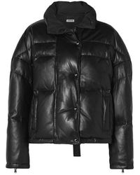 Jason Wu Cropped Quilted Leather Down Jacket - Black