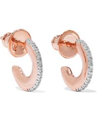 Monica Vinader - Fiji Small Rose Gold Vermeil Diamond Hoop Earrings - Lyst