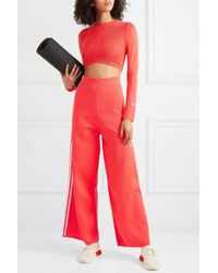adidas Originals Striped Stretch-knit Wide-leg Track Trousers - Red