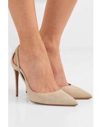 Aquazzura Forever 105 Cutout Suede Pumps - Natural