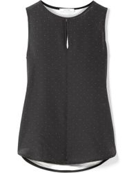 Max Mara - Polka-dot Silk And Stretch-jersey Top - Lyst