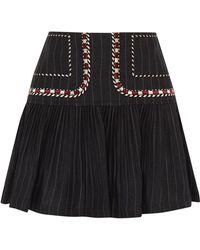 Étoile Isabel Marant - Jessie Embroidered Pinstriped Linen Mini Skirt - Lyst