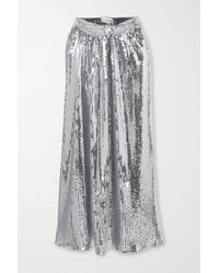 Paco Rabanne Tie-detailed Sequined Georgette Midi Skirt - Metallic