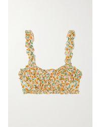 Loretta Caponi Nora Ruffled Floral-print Cotton-voile Top - Multicolour