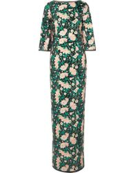 Rachel Zoe Lina Open-back Chiffon-trimmed Sequined Printed Crepe Gown - Green