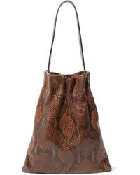 Tl-180 Fazzoletto Snake-effect Leather Tote - Brown
