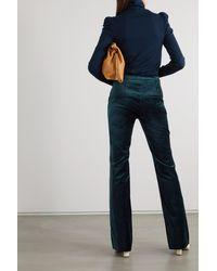 Veronica Beard Verity Button-embellished Cotton-blend Velvet Flared Trousers - Blue