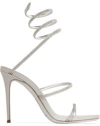 Rene Caovilla - Snake Crystal-embellished Metallic Leather Sandals - Lyst